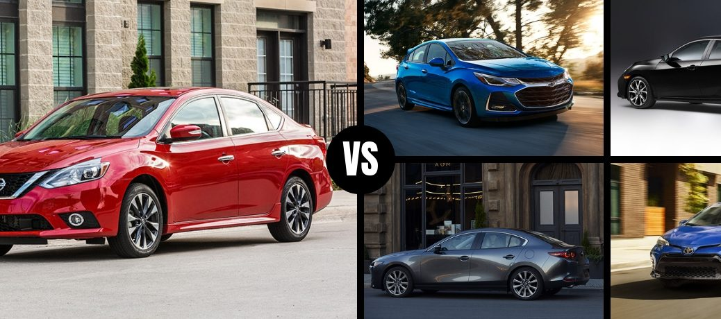 Comparison image of a red 2019 Nissan Sentra against four of its main competitors
