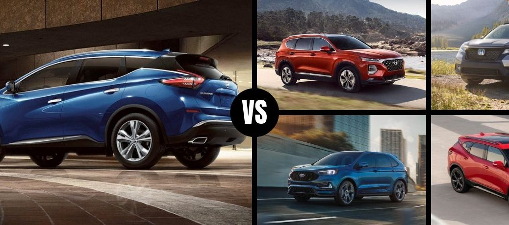 Comparison image of a blue 2019 Nissan Murano and its competition