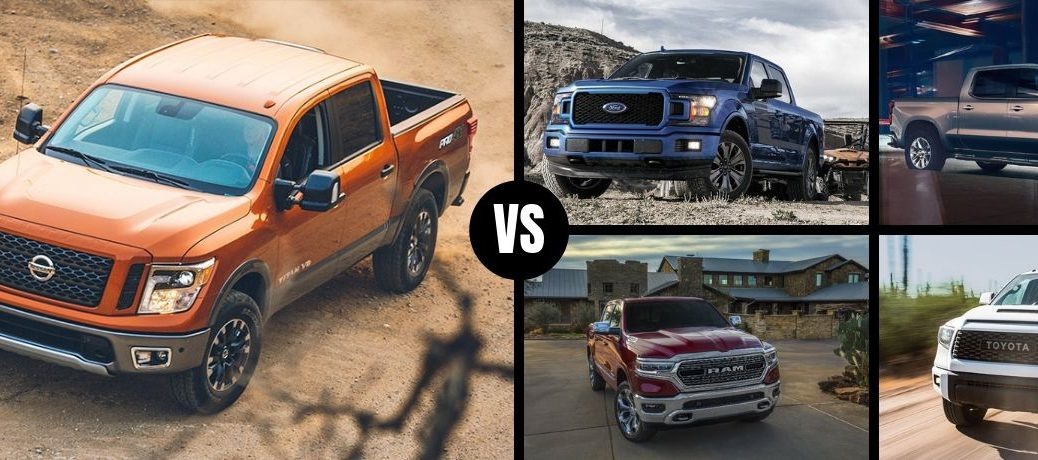 Comparison image of an orange 2019 Nissan TITAN an its competition