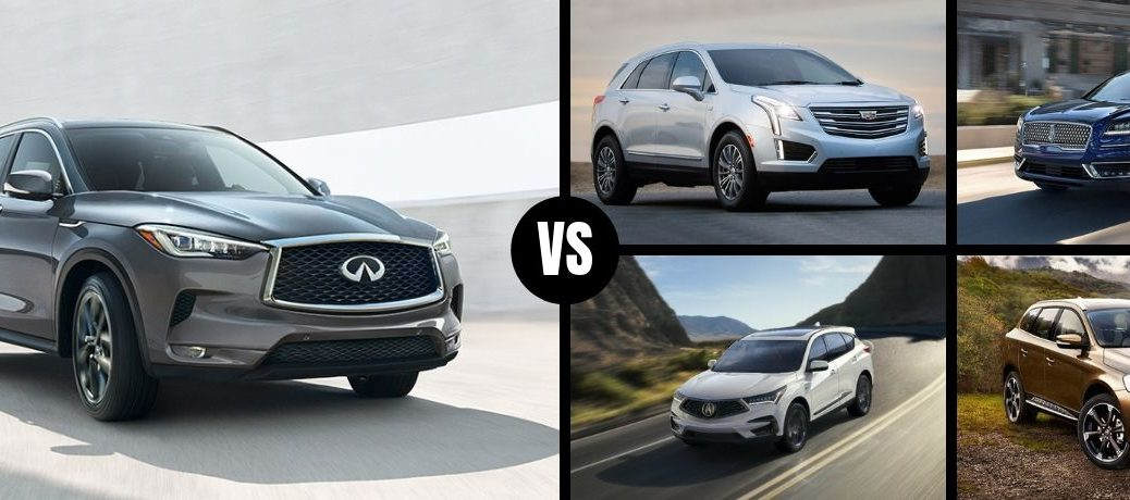 Comparison image of a gray 2019 INFINITI QX50 and its competition
