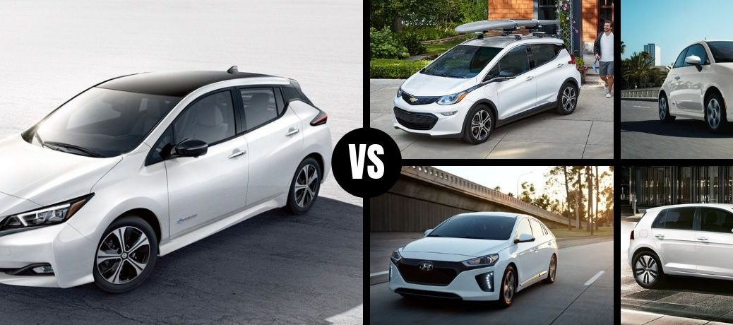 Comparison image of a white 2019 Nissan Leaf and its main competitors