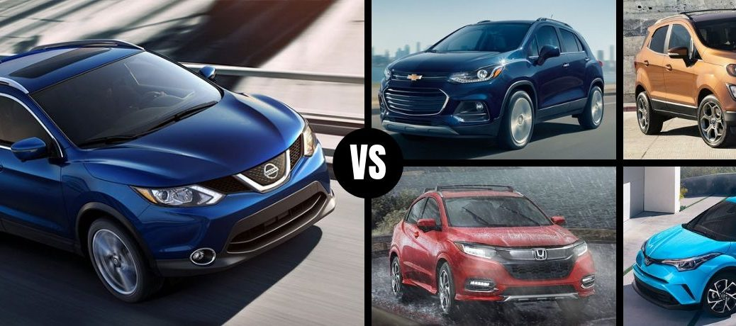 Comparison image of a blue 2019 Nissan Rogue Sport and its four main competitors