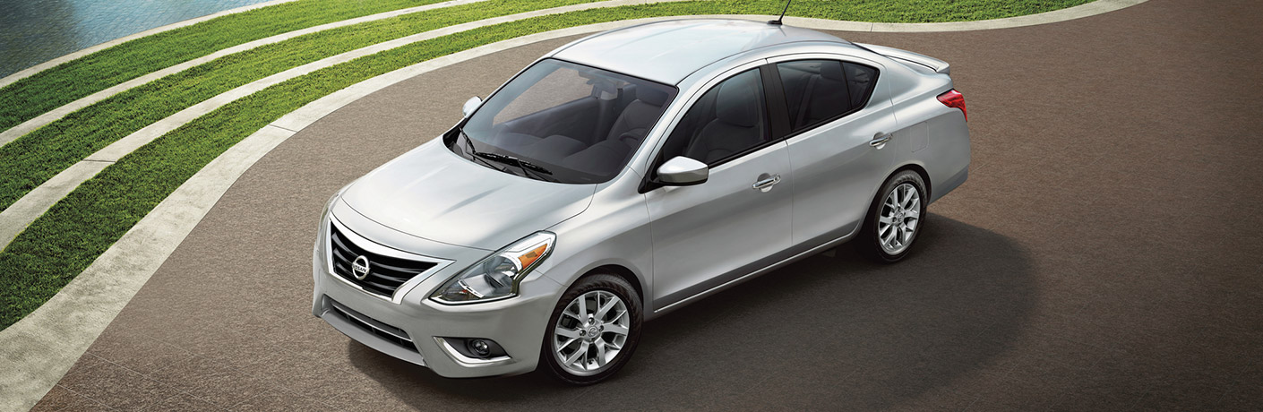 Exterior view of the front of a silver 2019 Nissan Versa