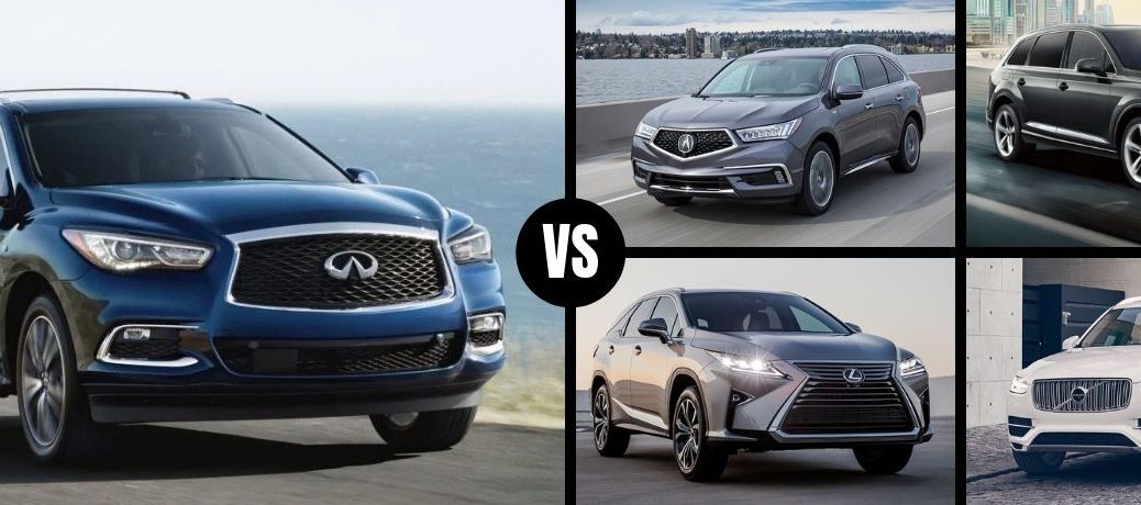 Comparison image of a blue 2019 INFINITI QX60 and its four main competitors