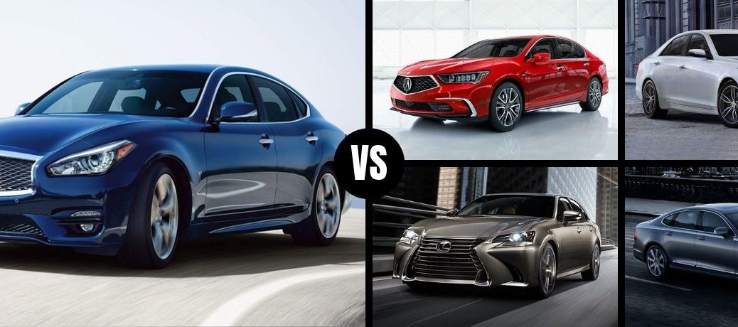 Comparison image of a blue 2019 INFINITI Q70 and its four main competitors