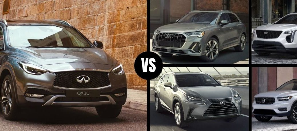 Comparison image of a bronze 2019 INFINITI QX30 and its four main competitors