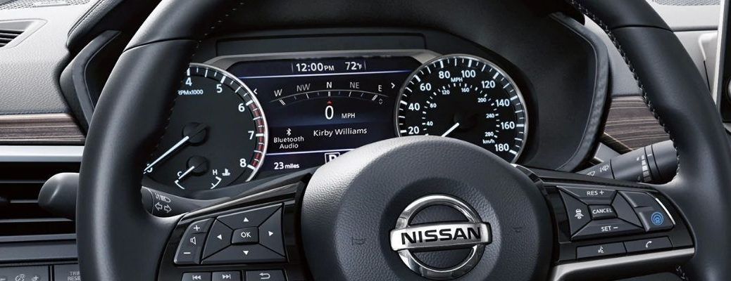 Closeup view of the instrument panel inside a Nissan Vehicle