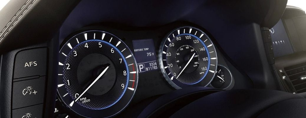 Closeup view of the Instrument Panel inside an INFINITI vehicle