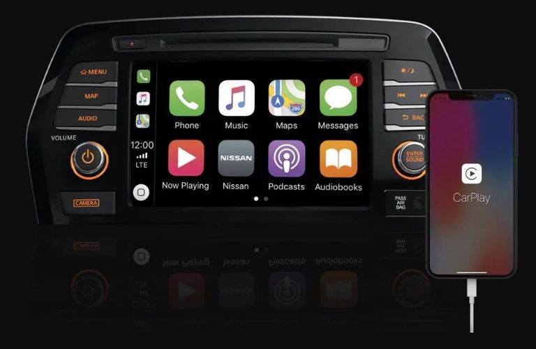 Closeup view of Apple CarPlay® on the 2020 Nissan Maxima touchscreen
