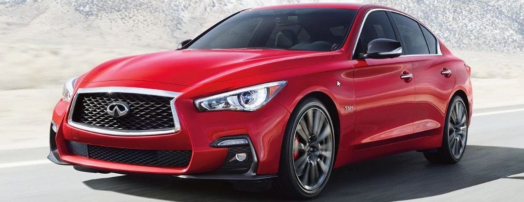 Exterior view of a red 2019 INFINIT Q50 Red Sport 400