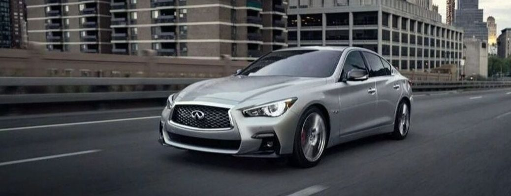 Exterior view of a gray 2020 INFINITI Q50