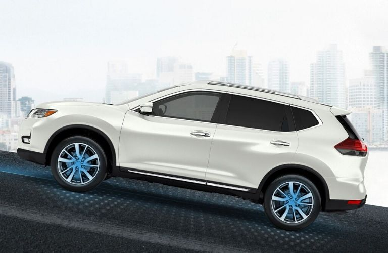 Exterior view of a white 2020 Nissan Rogue with Hill Start Assist