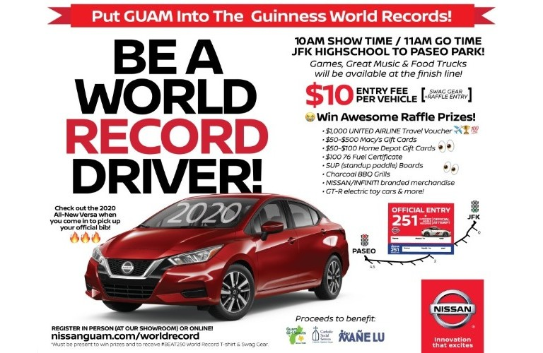 Nissan Guam Motorcade World Record banner highlighting the 2020 Nissan Versa