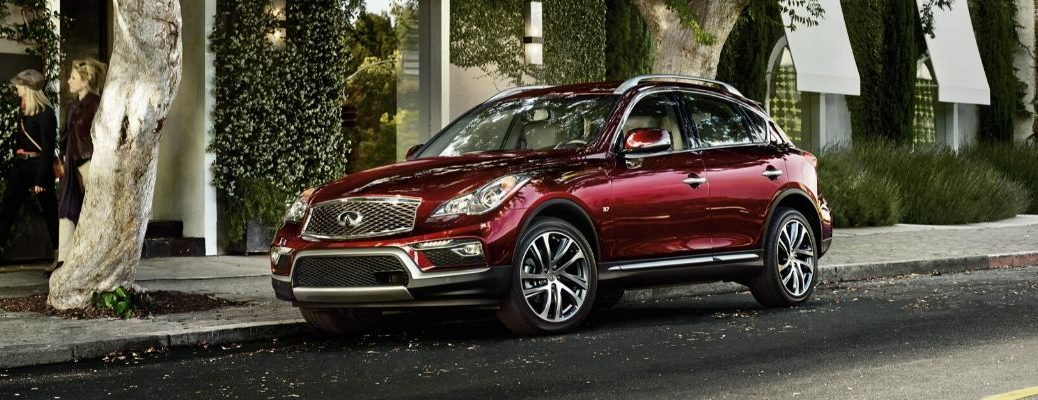 Exterior view of a red 2016 INFINITI QX50