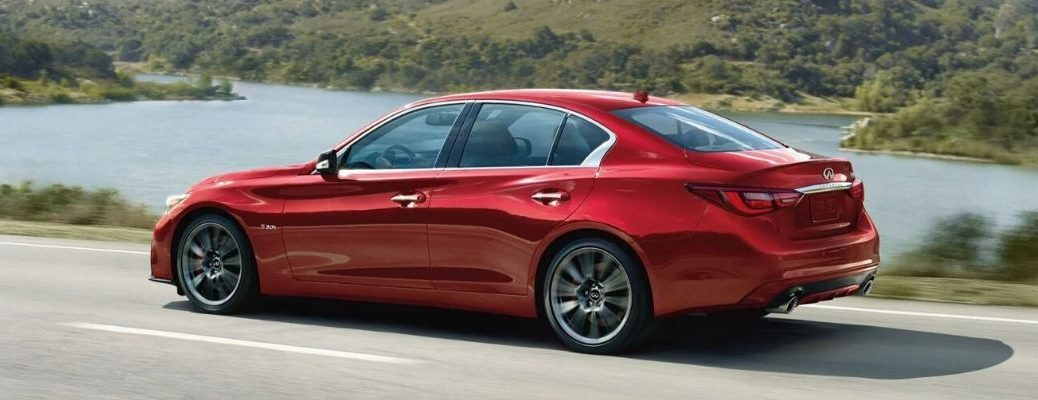 Exterior view of a red 2020 INFINITI Q50 Red Sport 400