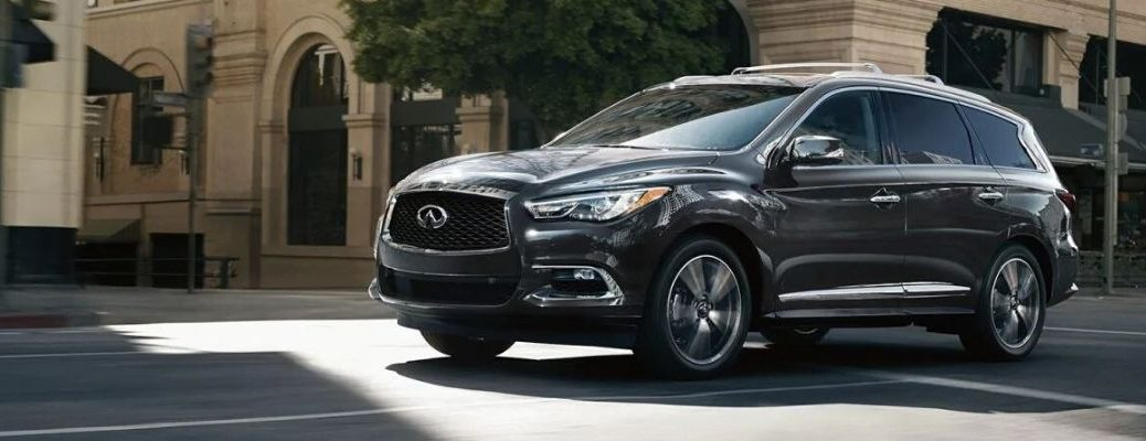 Exterior view of a gray 2020 INFINITI QX60