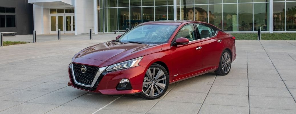 Exterior view of a red 2020 Nissan Altima