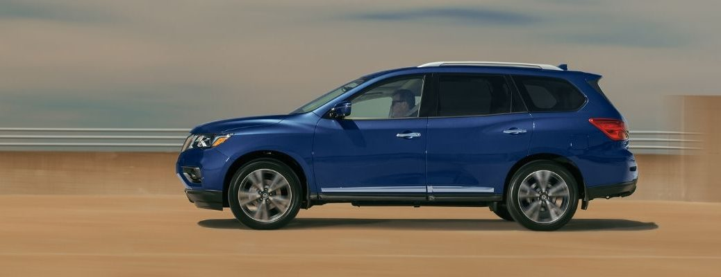 Exterior view of a blue 2020 Nissan Pathfinder