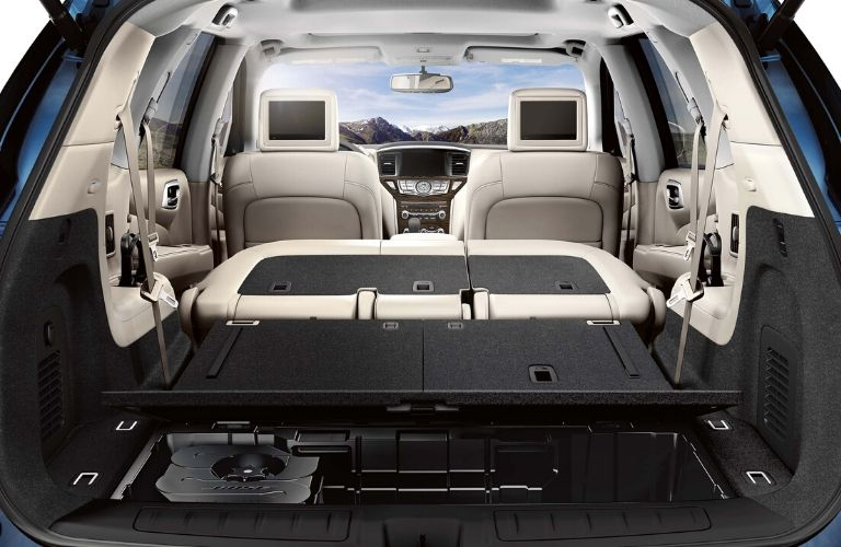 Interior view of the rear cargo area inside a 2020 Nissan Pathfinder