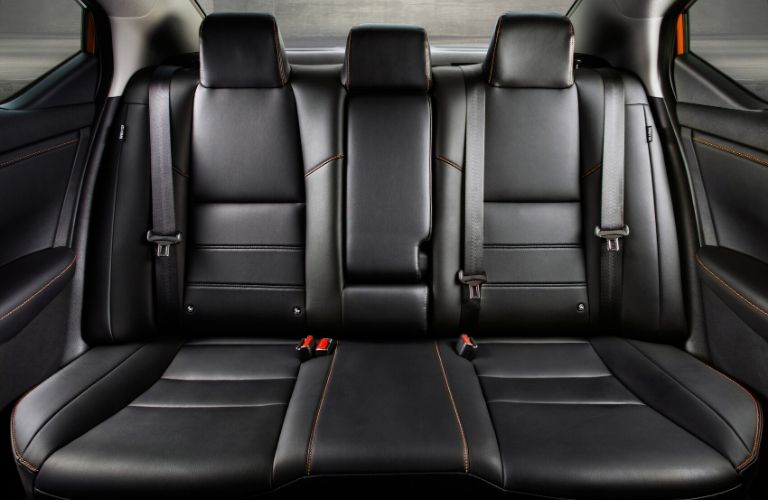 Interior view of the rear seating area inside a 2020 Nissan Sentra