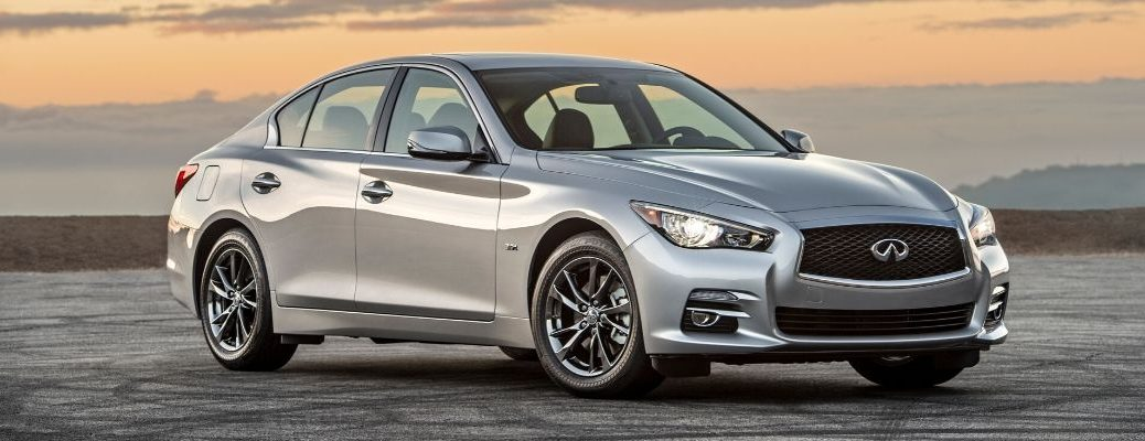 Exterior view of a silver 2017 INFINITI Q50