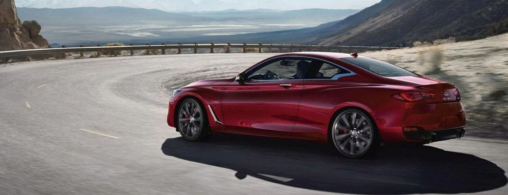 Exterior view of a red 2020 INFINITI Q60