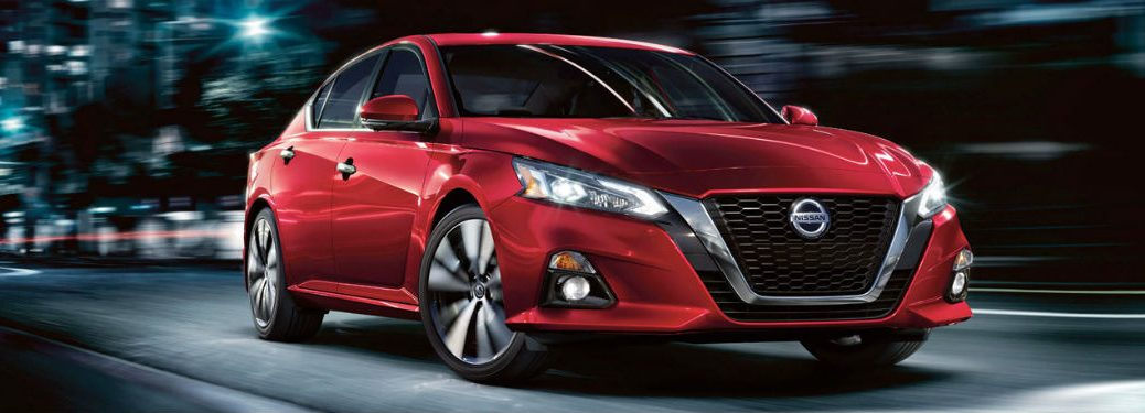 2020 Nissan Altima front fascia passenger side driving at night
