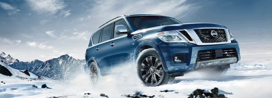 2020 Nissan Armada front fascia driver side on snow