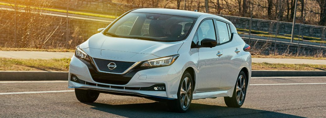 2020 Nissan Leaf white exterior front fascia driver side sunlight coming from left side