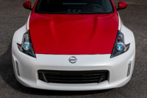 2020 Nissan 370z 50 sky view of red and white hood front fascia