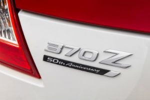 2020 Nissan 370z 50 close up of 50 anniversary badging