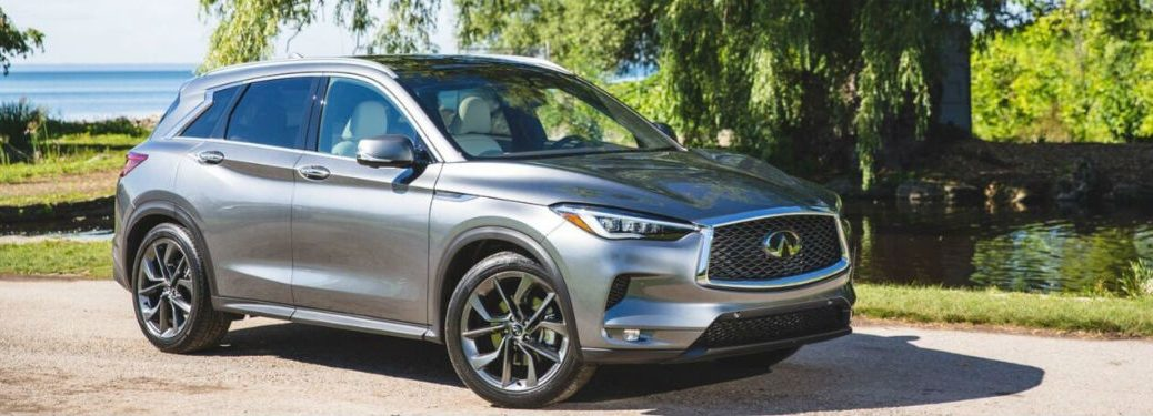 2020 INFINITI QX50 silver exterior front fascia passenger side parked