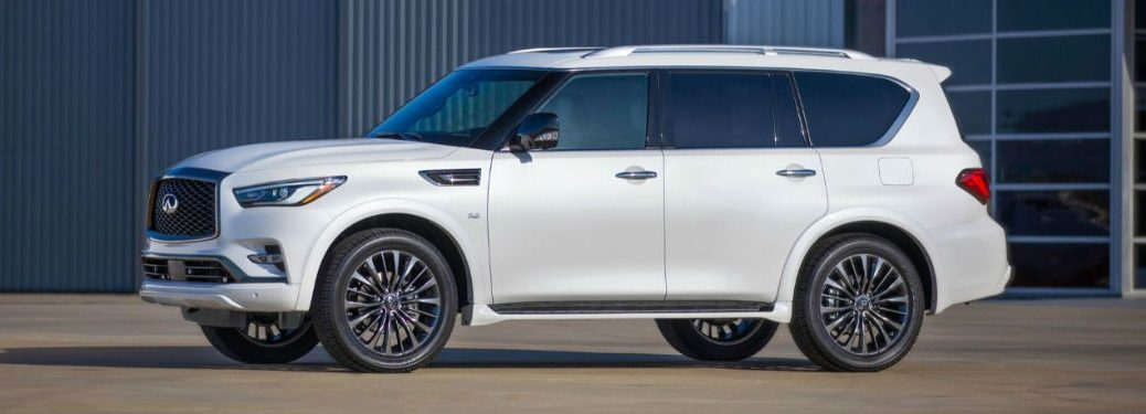 2020 Infiniti QX80 white exterior driver side parked