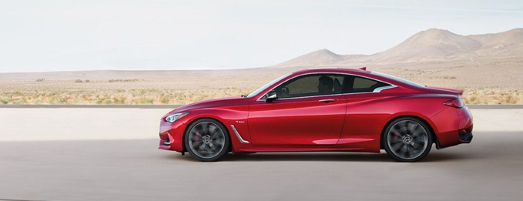 2020 Infiniti Q60 red exterior driver side