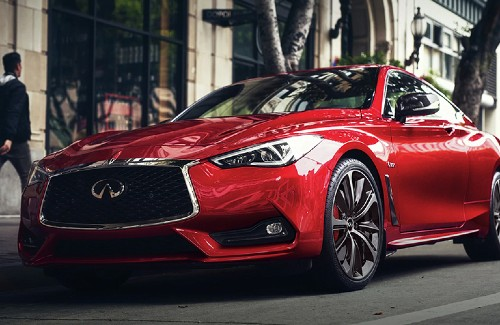 2020 Infiniti Q60 red exterior front driver side parked