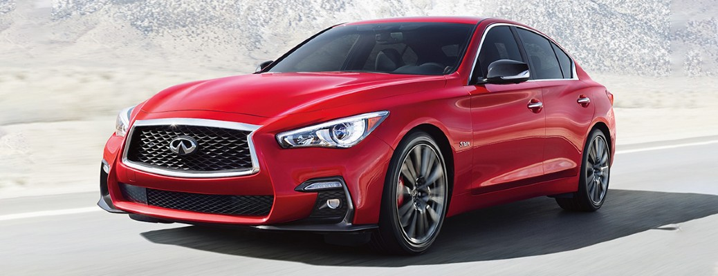 2020 Infiniti Q50 red exterior front driver side driving