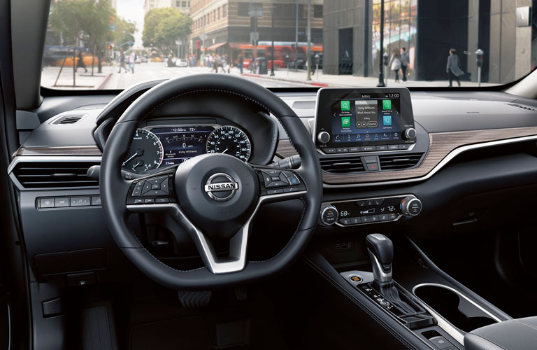 Steering wheel, gauges, and touchscreen in 2020 Nissan Altima