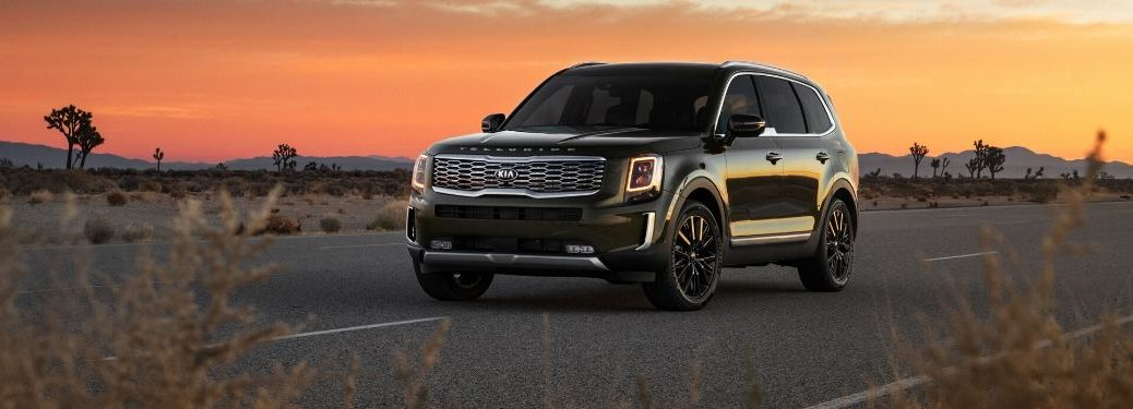 2020 Kia Telluride in front of sunset from exterior front drivers side