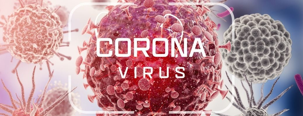 Corona Virus text over close up of germs