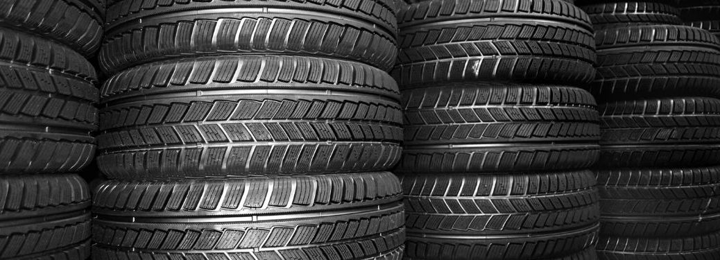 Tires stacked in rows