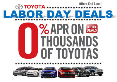 Blog - 0 APR on Toyota vehicles during  Labor Day sales event