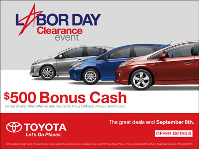 Blog - Extra 500 dollar Labor Day bonus on Toyota Prius cars