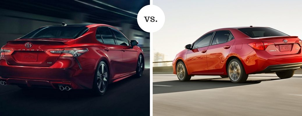 2018 Toyota Camry and Corolla models shown in comparison image with rear shots