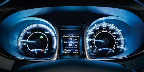 2018 Toyota Avalon Hybrid Gauge Cluster with ambient lighting