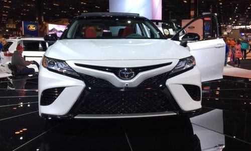Grille and front headlights of 2018 Toyota Camry XSE at Chicago Auto Show