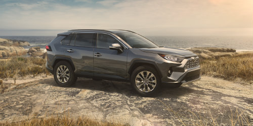 Silver 2019 Toyota RAV4 parked on cliff side at sundown
