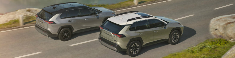Two 2019 Toyota RAV4 models driving down waterfront road