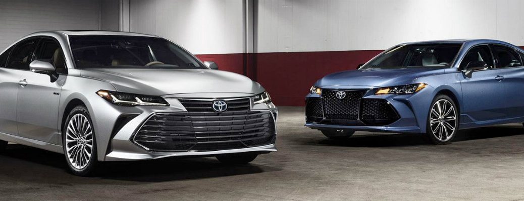 Two 2019 Toyota Avalon models parked in garage building