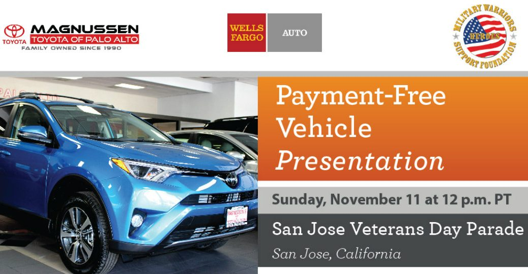 2018 Toyota RAV4 parked at Toyota Palo Alto with Wounded Warrior donation details given
