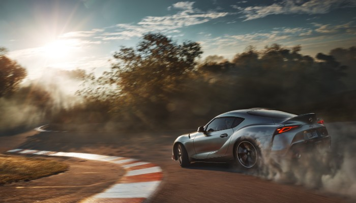 2020 Toyota Supra taking turn on track